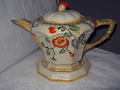 Ten Sided Tea Pot And Stand With A Basket Weave  And Floral Pattern  By  Beswick
