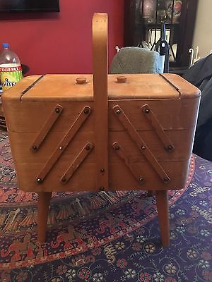 Vintage 3tier wooden cantilever sewing storage box 60s/70s used