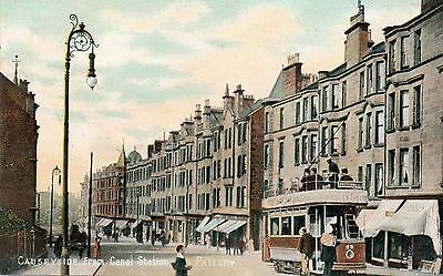 Paisley,Causeyside From Canal Station.With Tram.Edwardian Postcard:See Scan