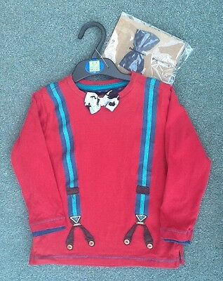 M&S AUTOGRAPH Boys Red Cotton L/S DICKIE BOW T-Shirt AGE 3-4 Years NWOT