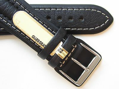Di-Modell Chronissimo black white stiched leather watch band NEW
