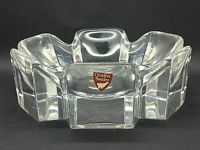 Orrefors Corona crystal bowl signed and labelled designed by Lars Hellsten