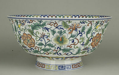Old Handwork Painting Grass Flower Blue And White Porcelain Bowl