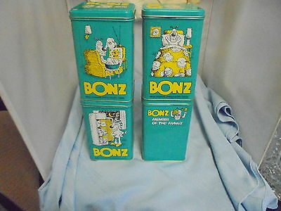 Lot of 4 1990 Bonz Containers Purina Tins GeoCaching Collectible Dog Bone Box