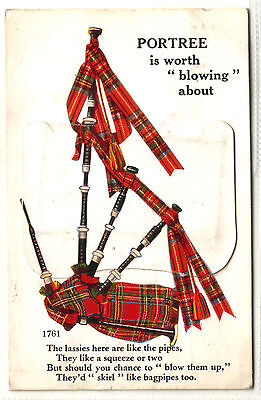 """Old Postcard Portree. Bagpipes,  Lassies, V. """"mail Novelty"""" Pull-Out Views 1961?"""