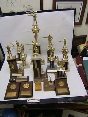 Vintage Shooting Trophies Lot of 17 Pieces Marble Bases Wall Plaques etc