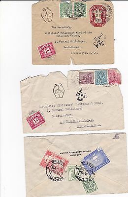 Burma Australia India To England 5 Covers 1950's Stamps
