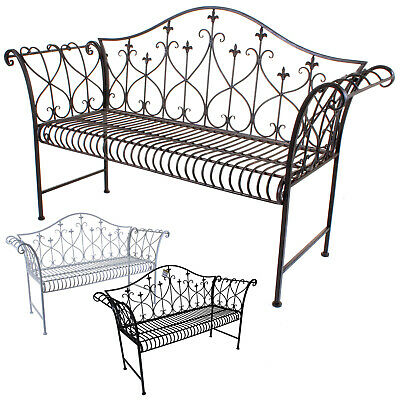 Metal Garden Bench 2/3 Seater Vintage Look Rustic Antique Patio Outdoor Bench