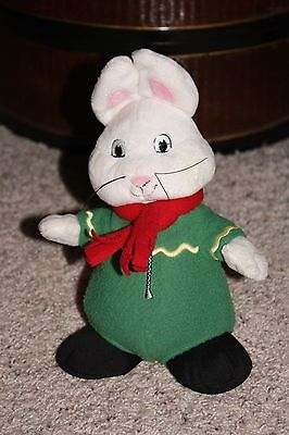 "Jakks Plush MAX & RUBY Boy Bunny Rabbit Winter Green Outfit Red Scarf 10""  #S2"