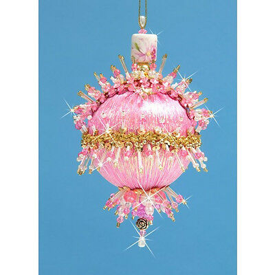 "Kit makes Collector Ornament ""Pink Parfait""  Pink  Satin  Sequins Beads NW"
