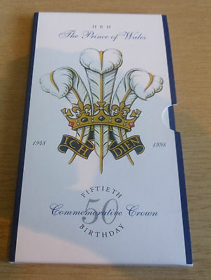 1998 Royal Mint HRH The Prince of Wales 50th Birthday £5 Crown In Pack