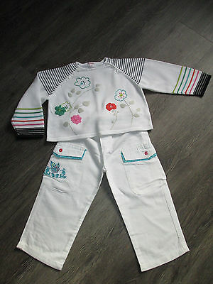 Girls Catimini White/multi Jumper & Trousers Outfit Age 3Yrs Ex.cond