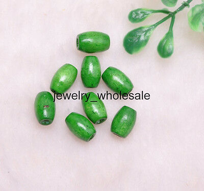 Wholesale 100pcs Green Charms Wood Oval Loose Spacer Beads 10X6MM