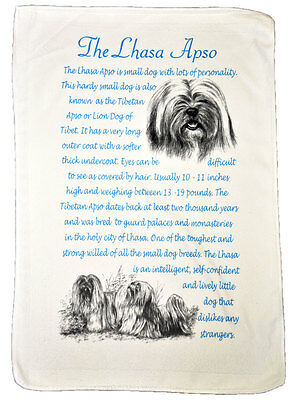 Lhasa Apso Dog Origins & Breed Facts Gift Packed Microfibre Tea Towel