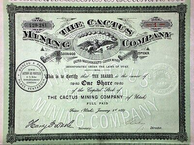 Cactus Mining Co. of Utah - 1889