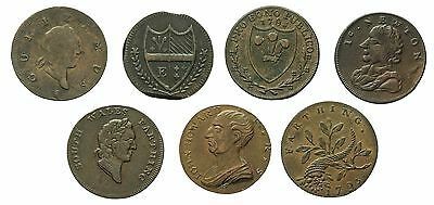 18th CENTURY FARTHING TOKENS X 7