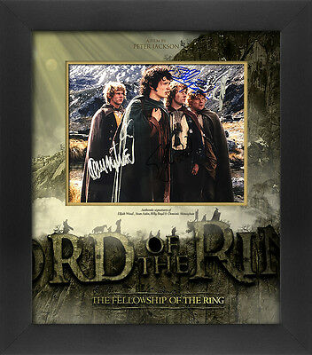 "Elijah Wood, Sean Astin, Billy Boyd & Dominic Monaghan signed 10"" x 8"" Lord of t"