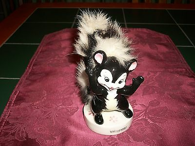 "1950s Ucagco Ceramics Japan 5"" Skunk Figurine w/ Applied Fur Tail "" Whoopee! """
