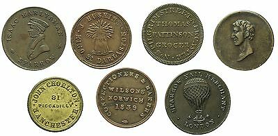 19th CENTURY UNOFFICIAL FARTHING TOKENS X 7