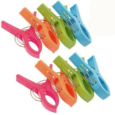 TRIXES Pack of 8 Large Bright Coloured Plastic Beach Towel Pegs