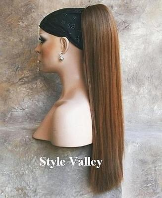 Long Straight Brown Hairpiece Ponytail Claw Clip on Extension Hair Piece