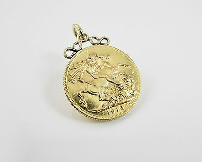 George V 22 ct Full Sovereign 1912 Coin with 9 ct Pendant Clasp