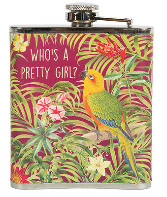 "Tropical PARROT ""Who`s a pretty Girl?"" Paradise Flachmann 50s HIP FLASK"