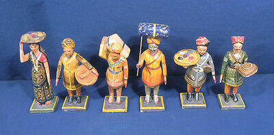 """6 Vtg Antique Hand Painted Folk Art Carved Wood Figurines India Colorful 7"""" Tall"""