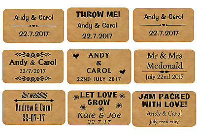 65 Mini Stickers Personalised Wedding Favour Seals Genuine Kraft Labels