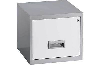 1 DRAWER 'PIERRE HENRY' STEEL SILVER WHITE FILING CABINET A4 / NEW +FREE DEL 24h
