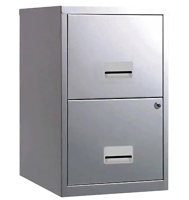 2 DRAWER 'PIERRE HENRY' STEEL SILVER FILING CABINET A4 / NEW +FREE DEL 24h