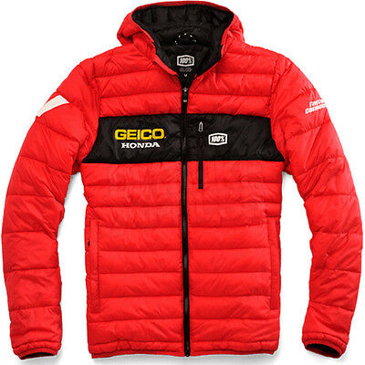 """New 100% Geico Honda Motocross Hooded Puff Casual Jacket Red Large 44"""" Chest"""