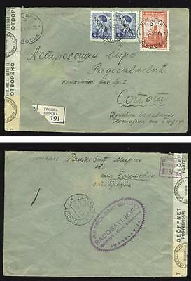 ASTROLOGY-RELATED: 1943 censored R-cover, German occupation of Serbia