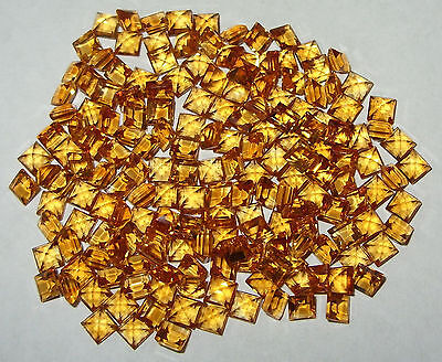 4mm Beautiful Color Brazil TOP Gold Citrine Square Princess Cut