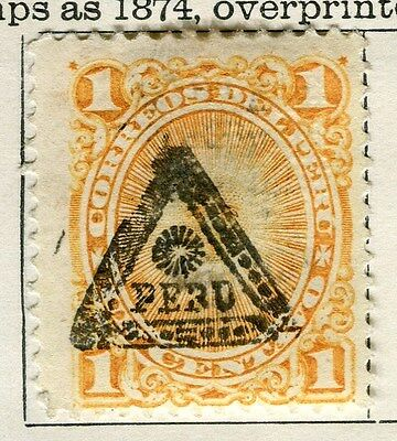 PERU;  1883 early classic Triangle Optd. issue 1c. Mint hinged value