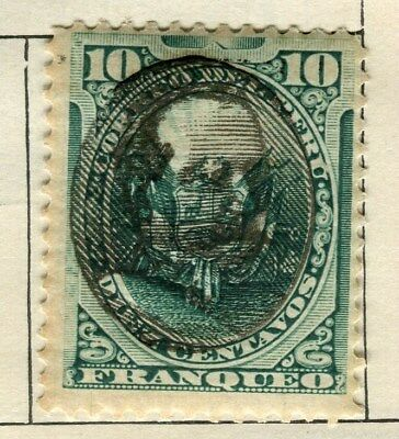 PERU;  1894 early classic Optd.  issue fine Mint hinged 10c. value