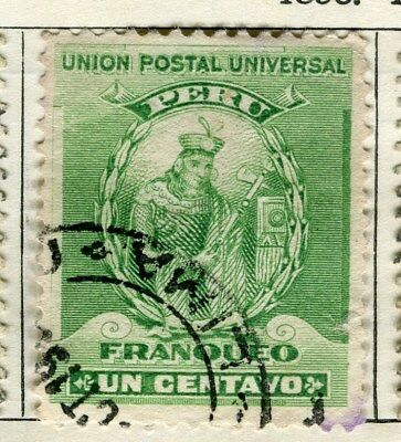 PERU;   1896 early classic issue fine used  1c. value