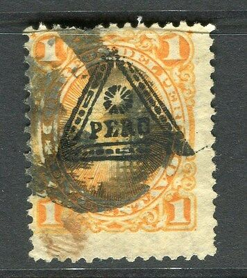 PERU;  1883 early classic triangle Optd. issue used 1c. value