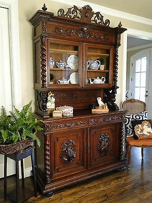 Antique French Hunt Cabinet Bookcase ~ Black Forest Hutch Carved Dark Oak