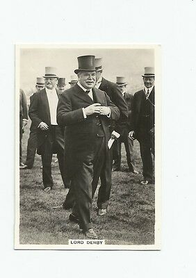 ARDATH CARD 1930's TOPICAL INTEREST LORD DERBY HORSE RACING  SUPERB