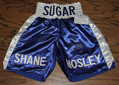 Sugar Shane Mosley Signed Autographed Boxing Trunks Leaf Authenticated #35442