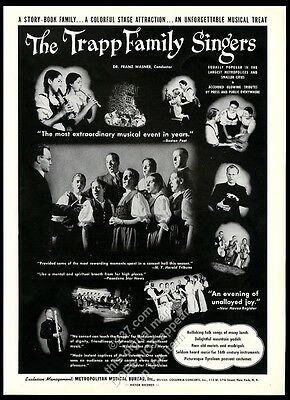 1943 The Von Trapp Family Singers photo USA music recital tour trade booking ad