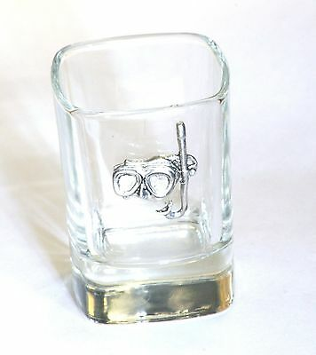 Diving Mask and Snorkel Pewter Emblem Crystal Shot Tot Glass Ideal Gift Present