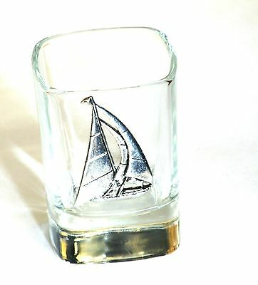 Yacht Pewter Design Crystal Shot Tot Glass Ideal Sailing Gift Award Present