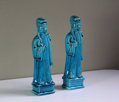 Pair Antique Early 20thC Chinese Turquoise Glazed Porcelain Immortals Figurines