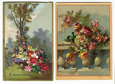 FLORAL Victorian Cards 1880's - Colorful Bouquet and Roses on a Terrace