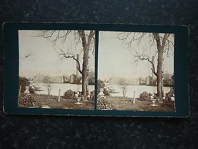 Stereoview Nice Early Image River Scene With Houses And Tall Chimney Location ?
