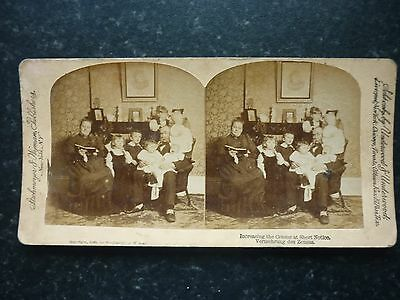 Stereoview Nice Early Image Family Group Increasing The Census At Short Notice