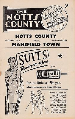 NOTTS COUNTY  v  MANSFIELD TOWN  1958/9.