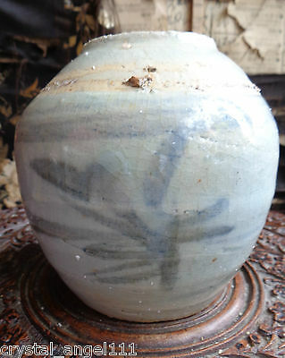 Antique  15thc Ming  Dynasty  Blue & White GINGER JAR  / TEA JAR '